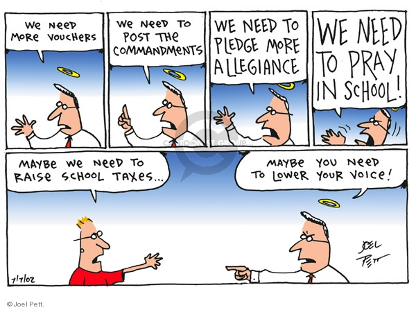 Joel Pett  Joel Pett's Editorial Cartoons 2001-07-07 tax pledge