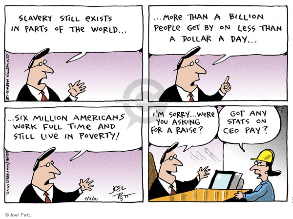 Joel Pett  Joel Pett's Editorial Cartoons 2001-09-02 salary