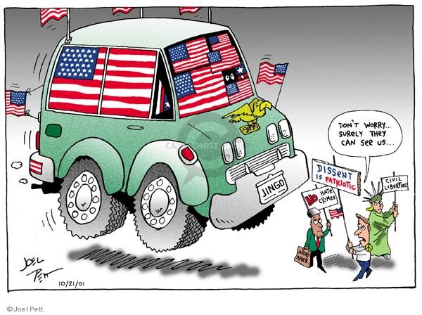Joel Pett  Joel Pett's Editorial Cartoons 2001-10-21 bigotry