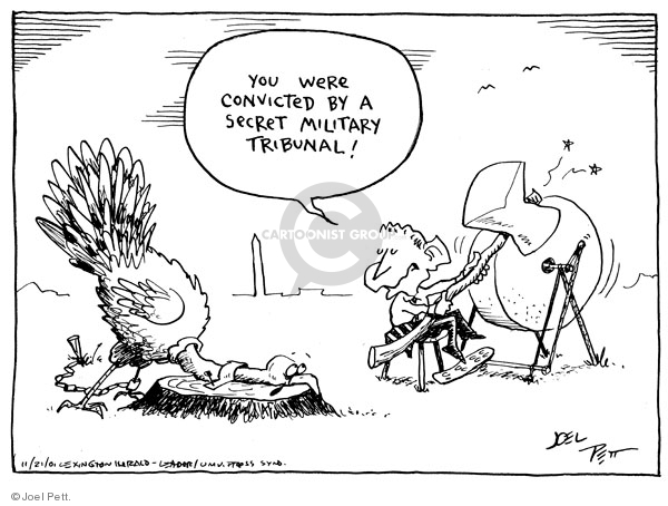 Cartoonist Joel Pett  Joel Pett's Editorial Cartoons 2001-11-21 Patriot Act