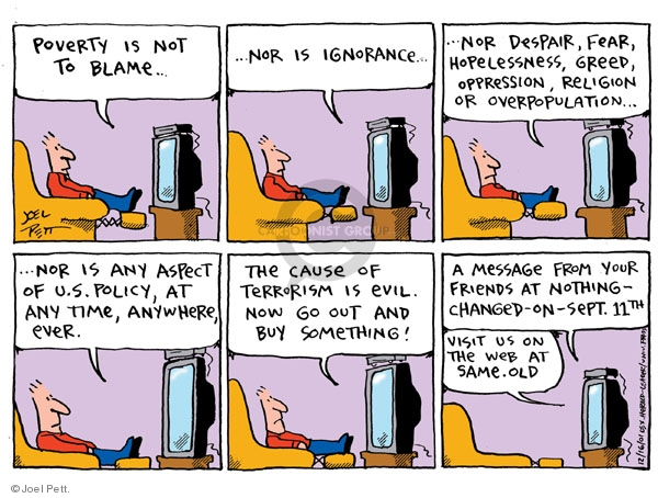 Cartoonist Joel Pett  Joel Pett's Editorial Cartoons 2001-12-16 terror attack