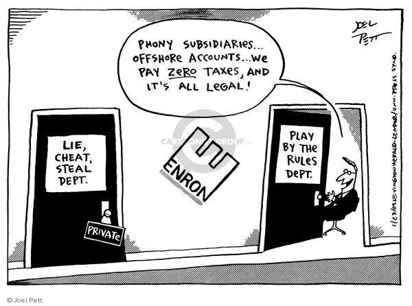 Cartoonist Joel Pett  Joel Pett's Editorial Cartoons 2002-01-23 bankruptcy
