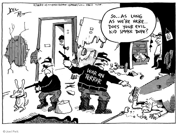 Cartoonist Joel Pett  Joel Pett's Editorial Cartoons 2002-02-28 invasion