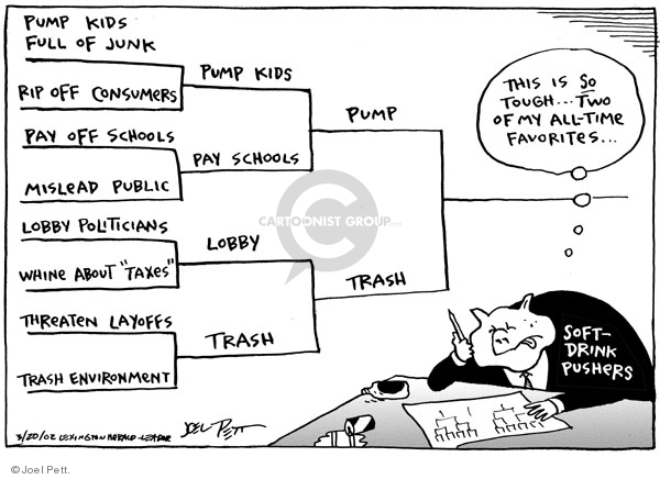 Cartoonist Joel Pett  Joel Pett's Editorial Cartoons 2002-03-20 greed