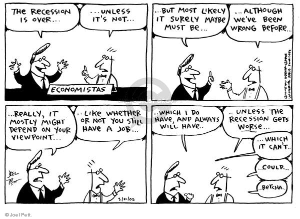 Cartoonist Joel Pett  Joel Pett's Editorial Cartoons 2002-03-21 recession