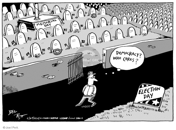 Cartoonist Joel Pett  Joel Pett's Editorial Cartoons 2002-05-28 election day