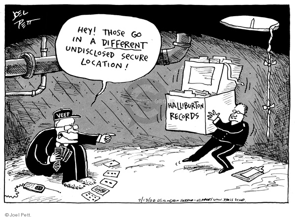 Cartoonist Joel Pett  Joel Pett's Editorial Cartoons 2002-07-13 political corruption