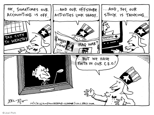 Joel Pett  Joel Pett's Editorial Cartoons 2002-10-01 stock market