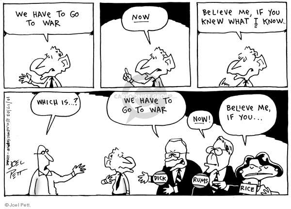 Cartoonist Joel Pett  Joel Pett's Editorial Cartoons 2002-10-17 politics and fear