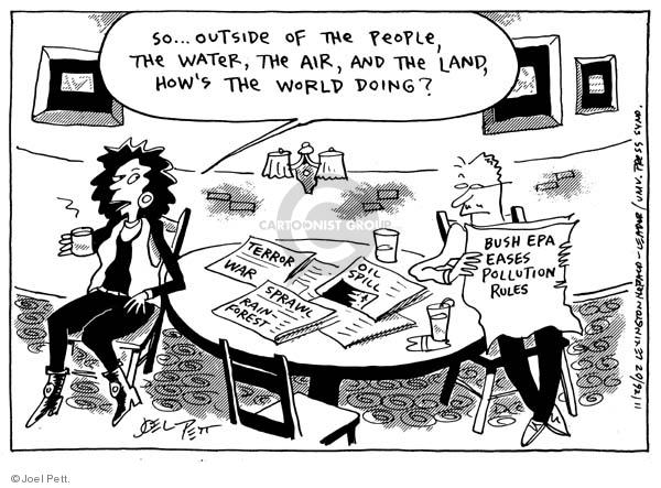 Joel Pett  Joel Pett's Editorial Cartoons 2002-11-26 rainforest