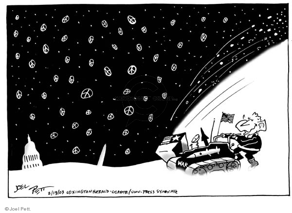 Cartoonist Joel Pett  Joel Pett's Editorial Cartoons 2003-02-19 invasion