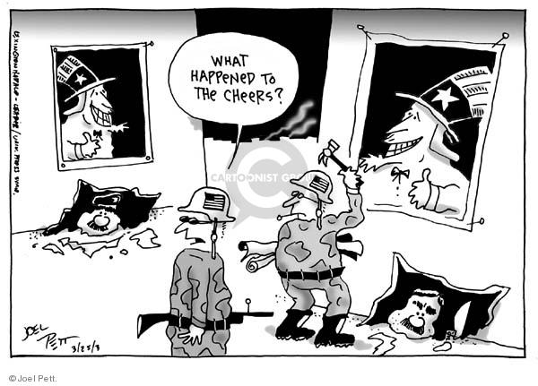 Cartoonist Joel Pett  Joel Pett's Editorial Cartoons 2003-03-25 justification
