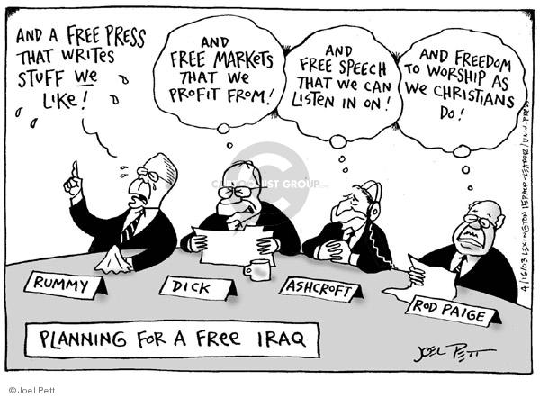 Joel Pett  Joel Pett's Editorial Cartoons 2003-04-16 freedom of the press