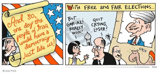 Cartoonist Joel Pett  Joel Pett's Editorial Cartoons 2003-04-27 election day