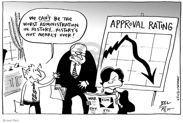 Cartoonist Joel Pett  Joel Pett's Editorial Cartoons 2008-05-12 George W. Bush