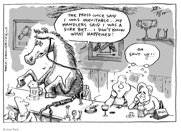 Cartoonist Joel Pett  Joel Pett's Editorial Cartoons 2008-06-11 Bill Clinton