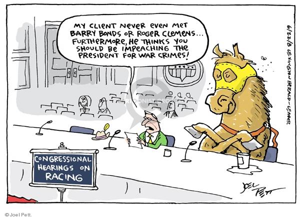 Cartoonist Joel Pett  Joel Pett's Editorial Cartoons 2008-06-22 horse race