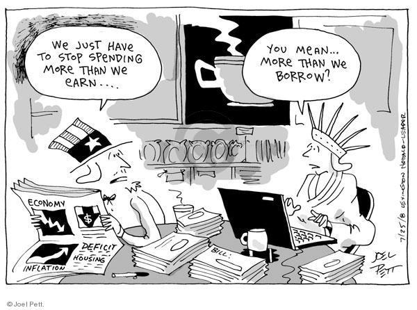 Cartoonist Joel Pett  Joel Pett's Editorial Cartoons 2008-07-25 debt