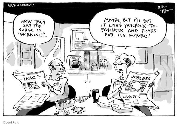 Cartoonist Joel Pett  Joel Pett's Editorial Cartoons 2008-09-08 recession