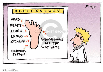 Reflexology.  Head.  Heart.  Liver.  Lungs.  Kidneys.  Nervous System.  Wee-wee-wee all the way home.
