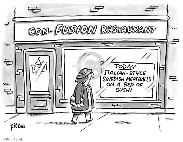 Con-fusion restaurant. Open. Today. Italian-style Swedish meatballs on a bed of sushi.