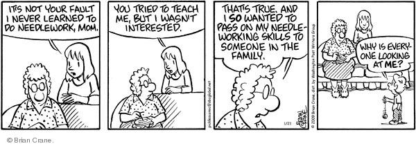Comic Strip Brian Crane  Pickles 2009-01-21 needlework
