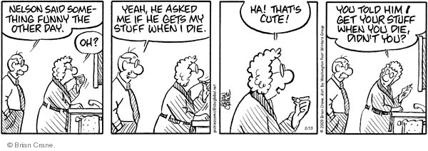 Comic Strip Brian Crane  Pickles 2009-02-13 married couple
