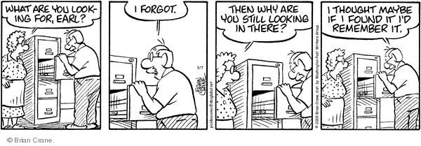 Comic Strip Brian Crane  Pickles 2009-03-07 forgetfulness