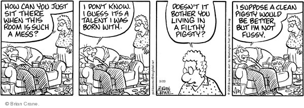 Comic Strip Brian Crane  Pickles 2009-03-20 cleanliness