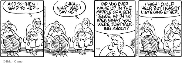 Comic Strip Brian Crane  Pickles 2009-04-23 forgetfulness