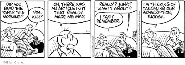 Comic Strip Brian Crane  Pickles 2009-05-23 bad memory