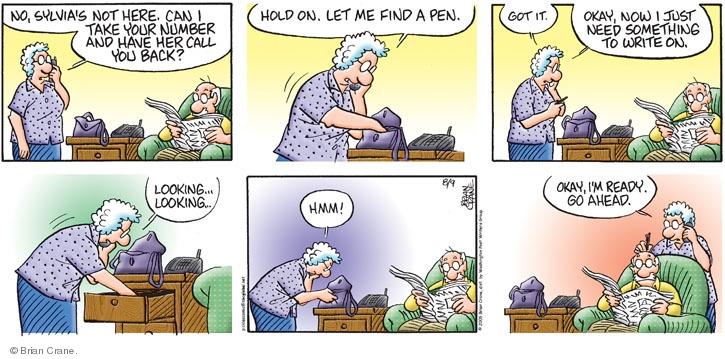 Comic Strip Brian Crane  Pickles 2009-08-09 telephone