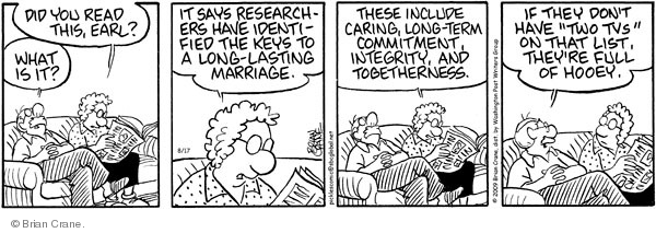 Comic Strip Brian Crane  Pickles 2009-08-17 married couple