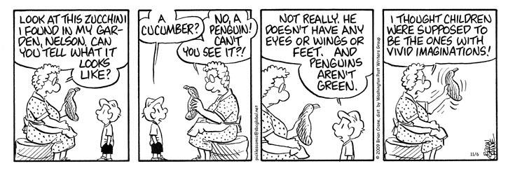 Comic Strip Brian Crane  Pickles 2009-11-06 zucchini
