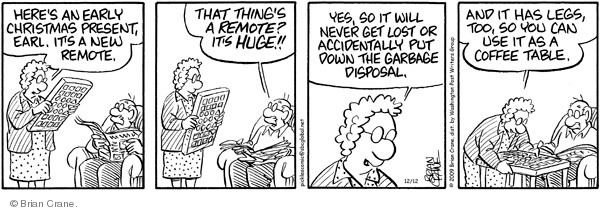 Comic Strip Brian Crane  Pickles 2009-12-12 garbage can