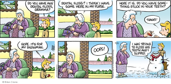 Comic Strip Brian Crane  Pickles 2009-12-13 dental floss
