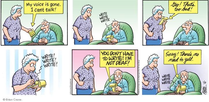 Comic Strip Brian Crane  Pickles 2010-01-10 shout