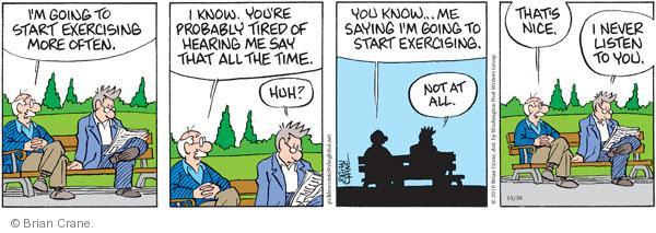 Comic Strip Brian Crane  Pickles 2010-10-30 not listening