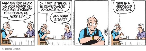 Comic Strip Brian Crane  Pickles 2011-02-25 reminder