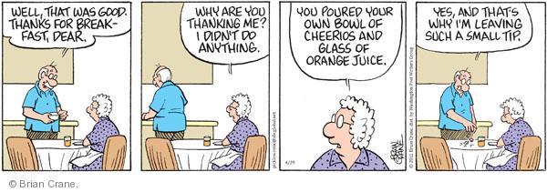 Cartoonist Brian Crane  Pickles 2011-04-29 cereal