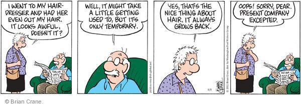 Comic Strip Brian Crane  Pickles 2011-08-08 haircut