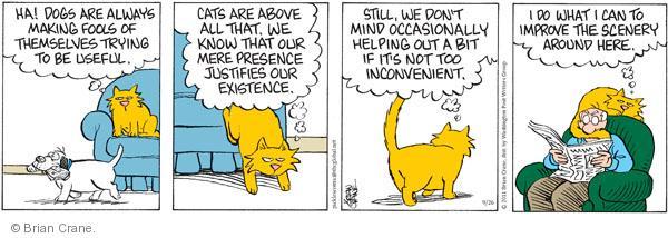 Comic Strip Brian Crane  Pickles 2011-09-26 assistance dog