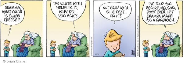 Gramma, what color is cheese?  Its white with holes in it.  Why do you ask?  Not gray with blue fuzz on it?  Ive told you before, Nelson, dont ever let Grampa make you a sandwich.