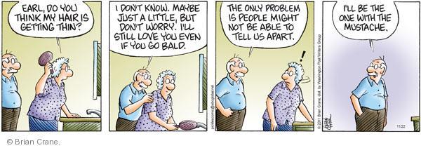 Comic Strip Brian Crane  Pickles 2011-11-22 hair loss