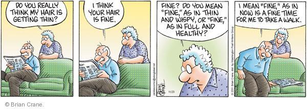 Comic Strip Brian Crane  Pickles 2011-11-23 hair loss
