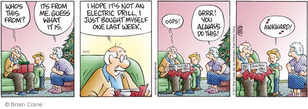 Comic Strip Brian Crane  Pickles 2011-12-22 Christmas gift
