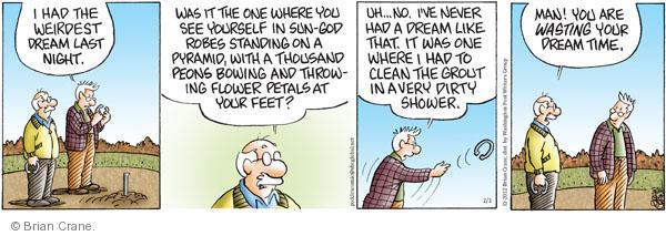 Comic Strip Brian Crane  Pickles 2012-02-01 dreamer