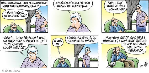 Comic Strip Brian Crane  Pickles 2012-02-19 telephone