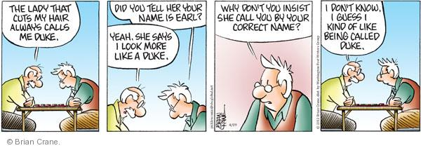 Comic Strip Brian Crane  Pickles 2012-04-09 duke
