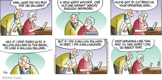 Comic Strip Brian Crane  Pickles 2012-10-28 personal finance